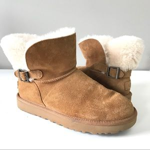 UGG Karel chestnut brown buckle mini boots 9